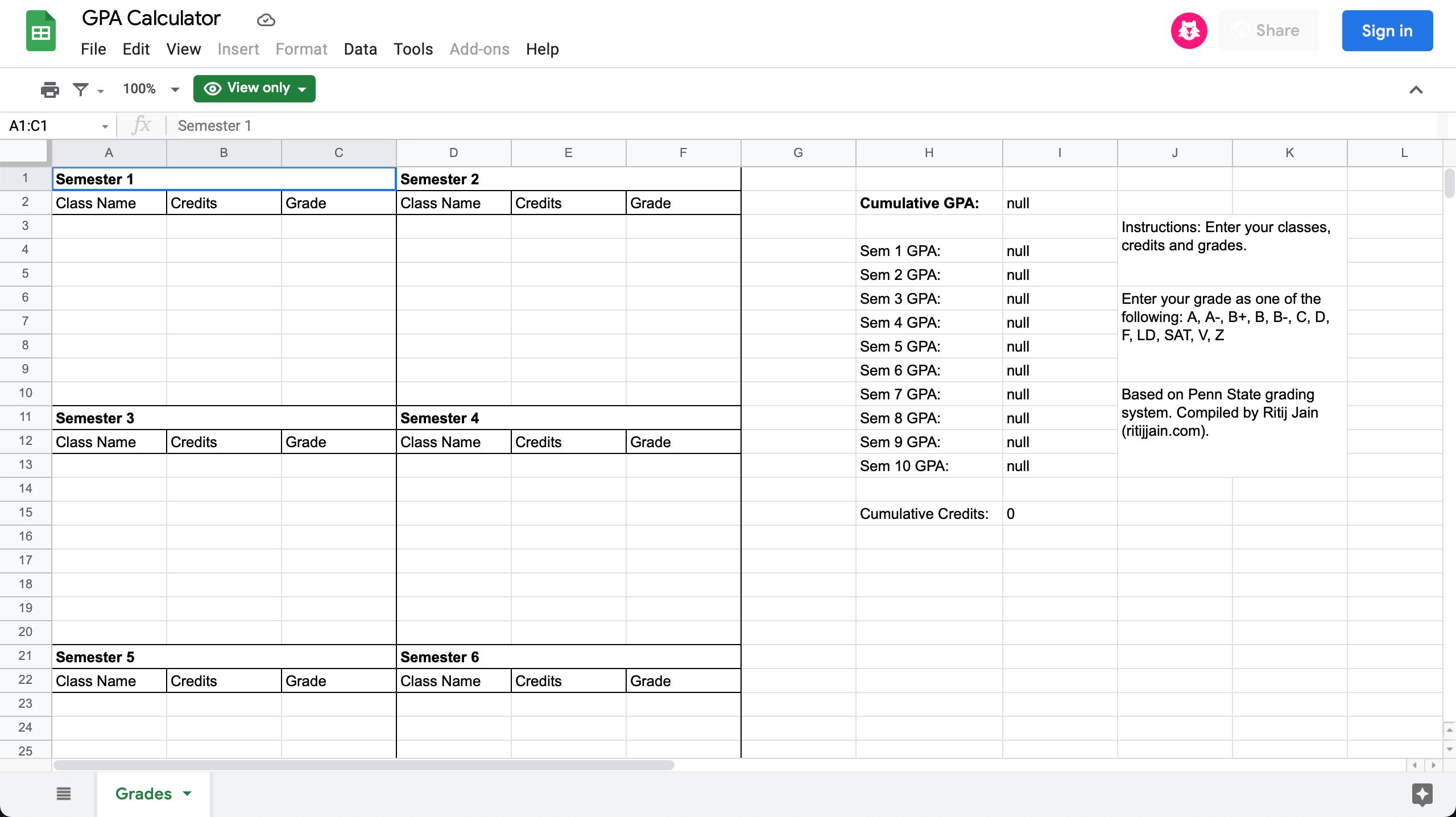 A screenshot of the GPA calculator spreadsheet.